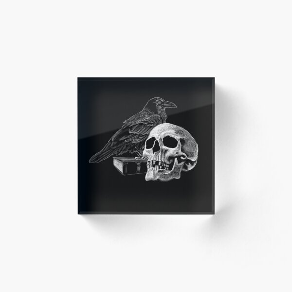Quoth the Raven with Skull Acrylic Block