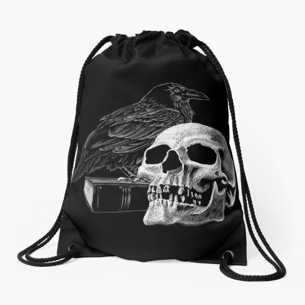 Quoth the Raven with Skull Drawstring Bag