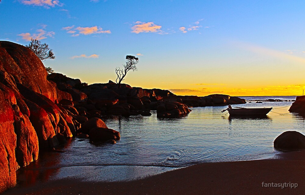 Boat at Sunrise, Binnalong Bay Tasmania by fantasytripp