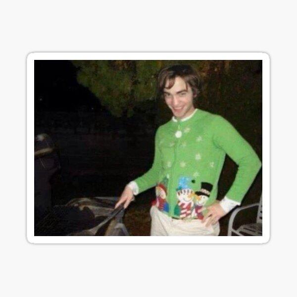 robert pattinson in a christmas sweater sticker  Sticker