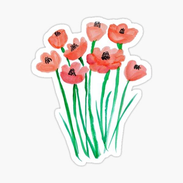 red Watercolor poppys Sticker