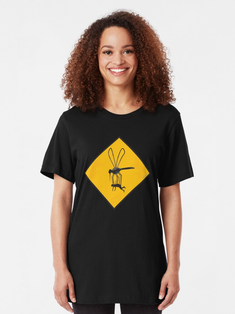 Alternate view of Warning Sign - Mega Mosquito Zone Slim Fit T-Shirt