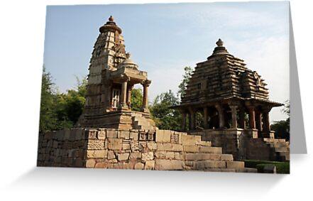 Lakshmi and Varaha Temples at Khajuraho in India by renprovo