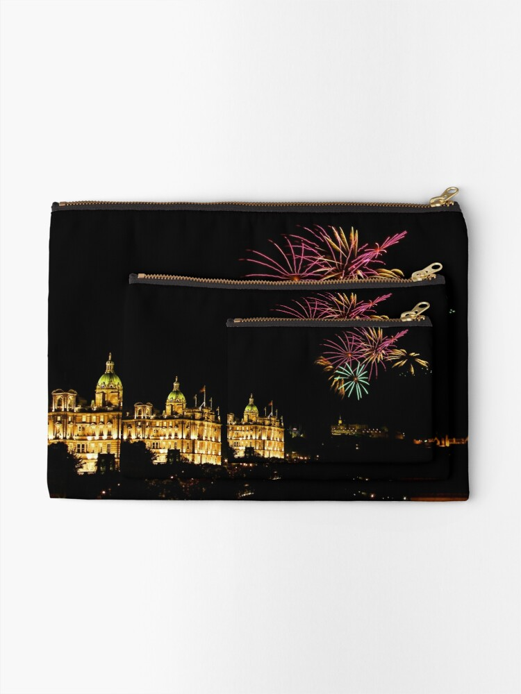 Alternate view of Edinburgh Castle Fireworks Zipper Pouch