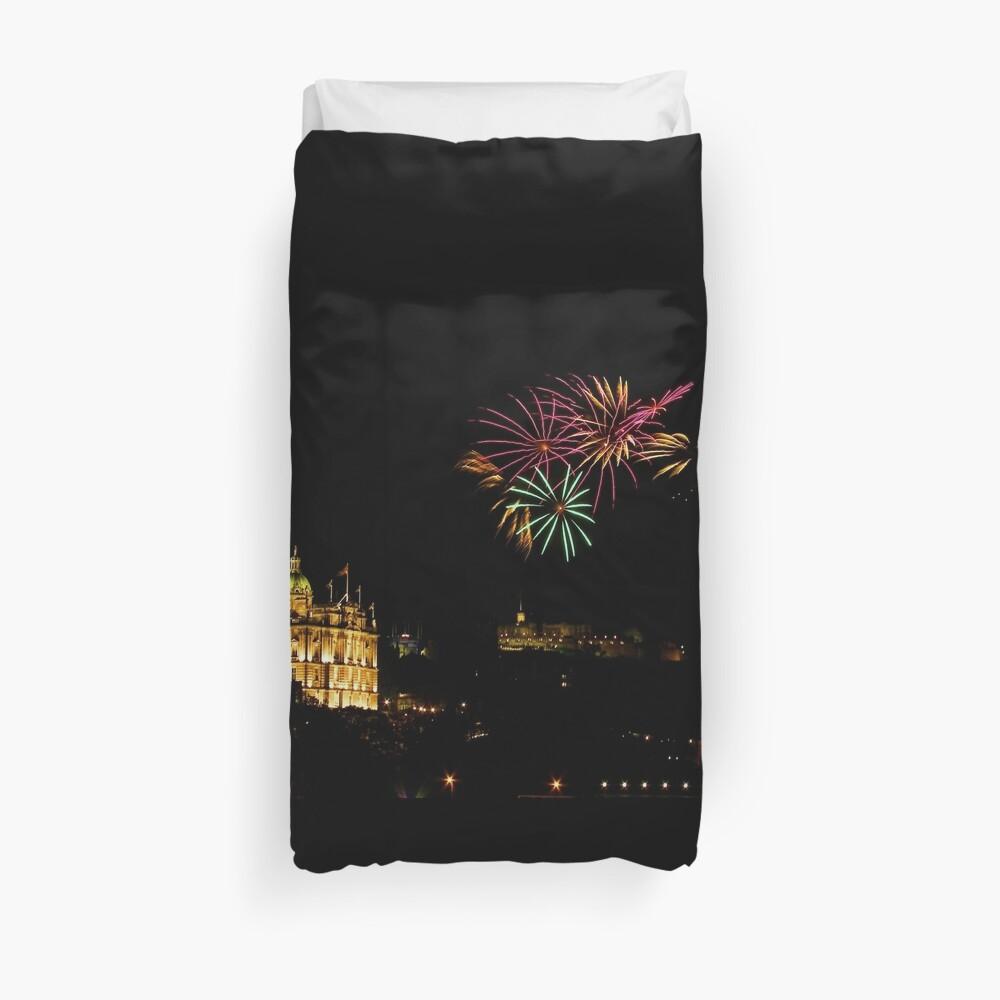 Edinburgh Castle Fireworks Duvet Cover
