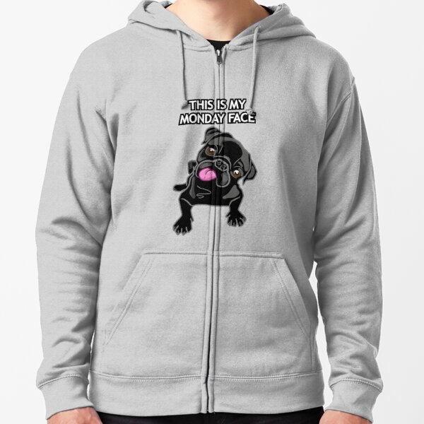Monday Face Black Pug Dog Lover Cute Gift  Zipped Hoodie