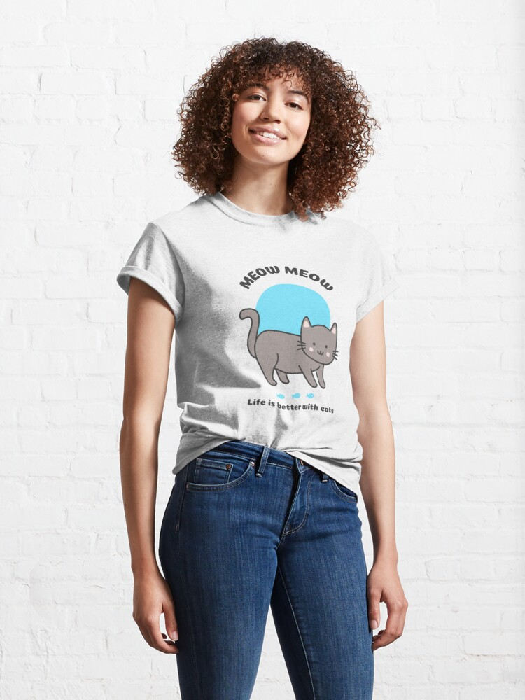 Alternative Ansicht von Meow meow - Life is better with cats Classic T-Shirt