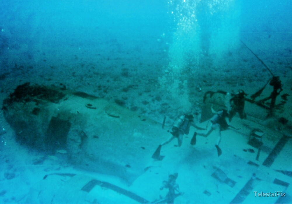 Divers on Airplane Wreck by TelestaiPix