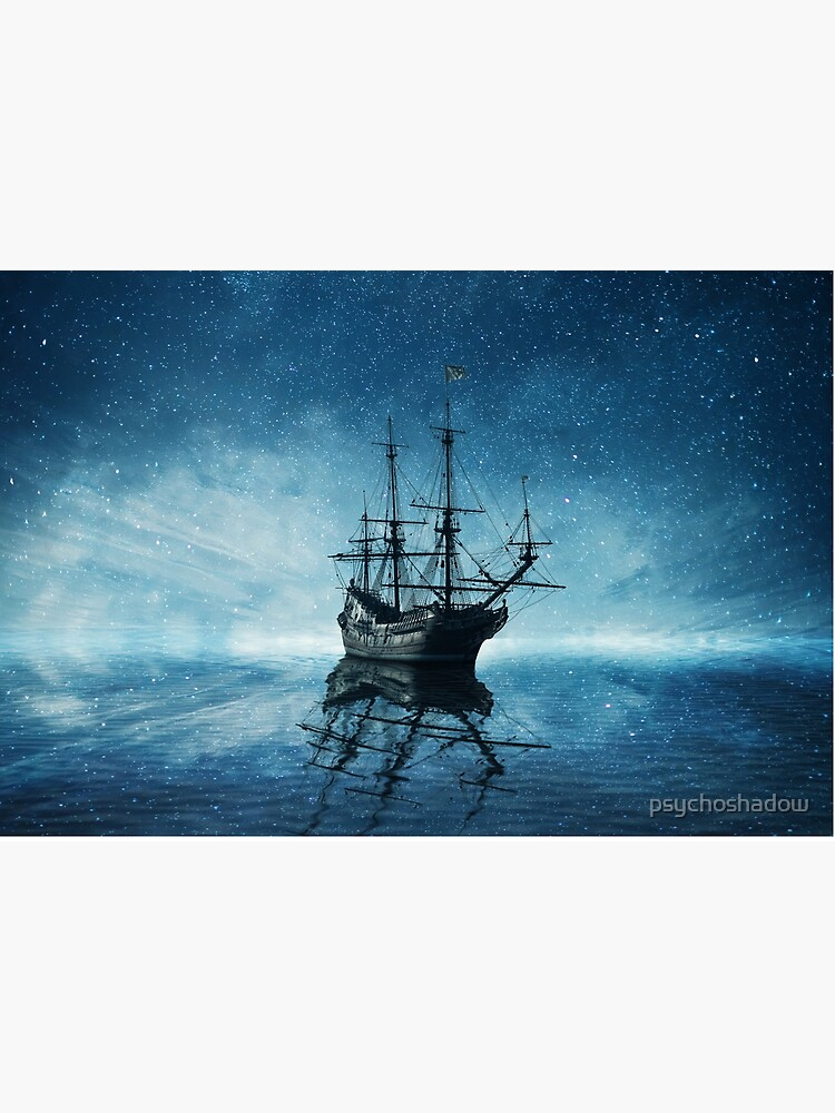 ghost ship under starry sky by psychoshadow