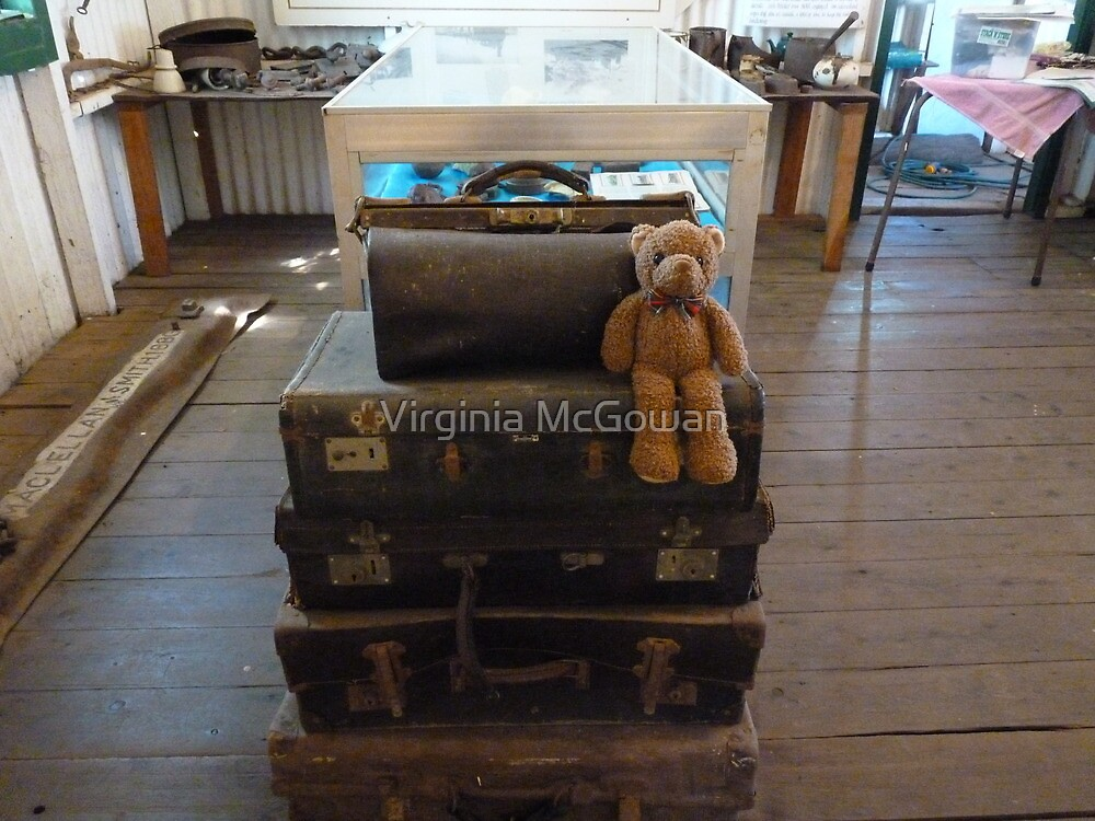 Well, off to see the big wide world ,luggage all ready, hoping Ted get to go in the big puff puff .. we'll see ? by Virginia McGowan