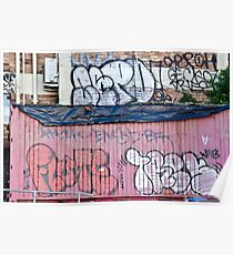 Abstract Graffiti in the grunge wall and sea container Poster