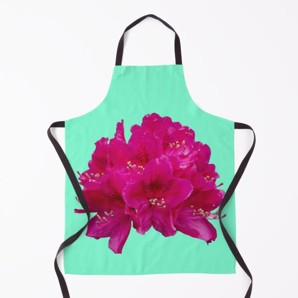 Rhododendron on an aqua menthe background Apron
