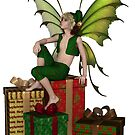 Christmas Fairy Elf Boy Sitting on a Pile of Presents by algoldesigns