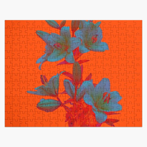 Lilies on a LushLava Background Jigsaw Puzzle