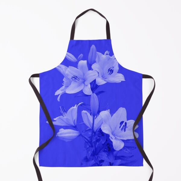 Lilies on Blue Background Apron