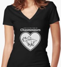 Love in the Time of Chasmosaurs logo: white Women's Fitted V-Neck T-Shirt