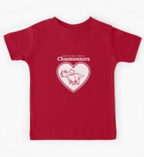 Love in the Time of Chasmosaurs logo: white Kids Tee