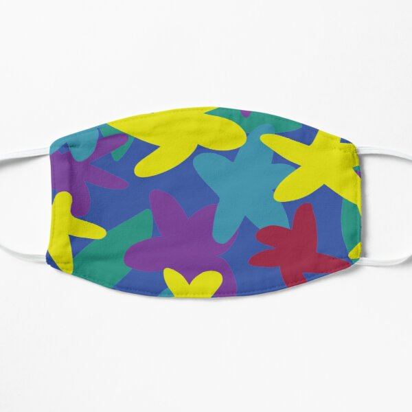 Flower Petal Pattern Party, Abstract Summer Shapes Flat Mask