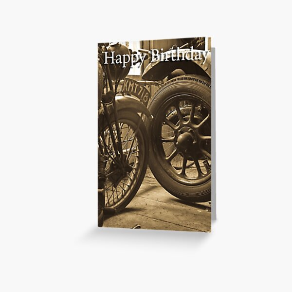 Sepia photograph of vintage transport greeting card Greeting Card