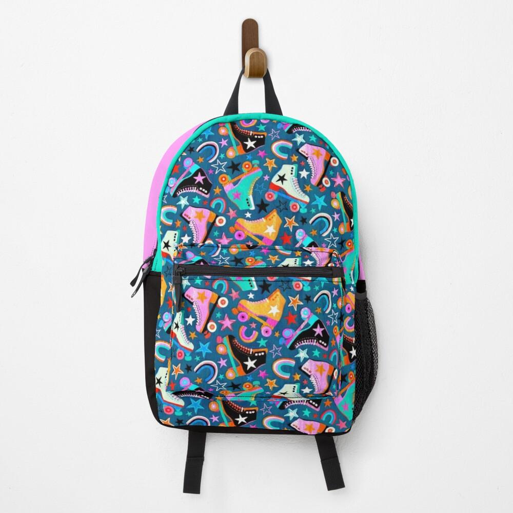 Retro Rainbow Roller Skates and Stars Backpack
