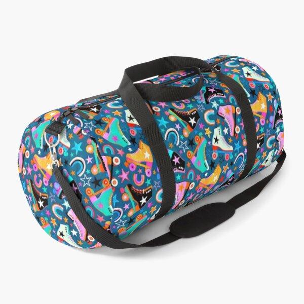 Retro Rainbow Roller Skates and Stars Duffle Bag