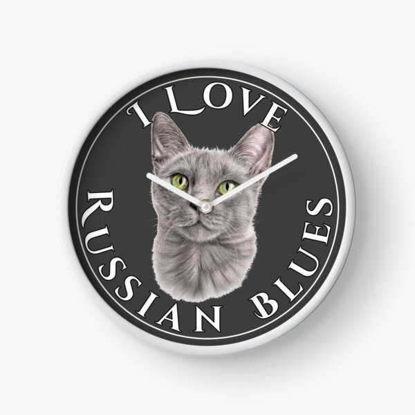 I Love Russian Blue Cats Clock