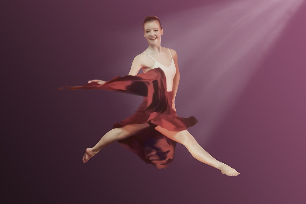 Leaping Ballerina in Red and Lavender by Delores Knowles