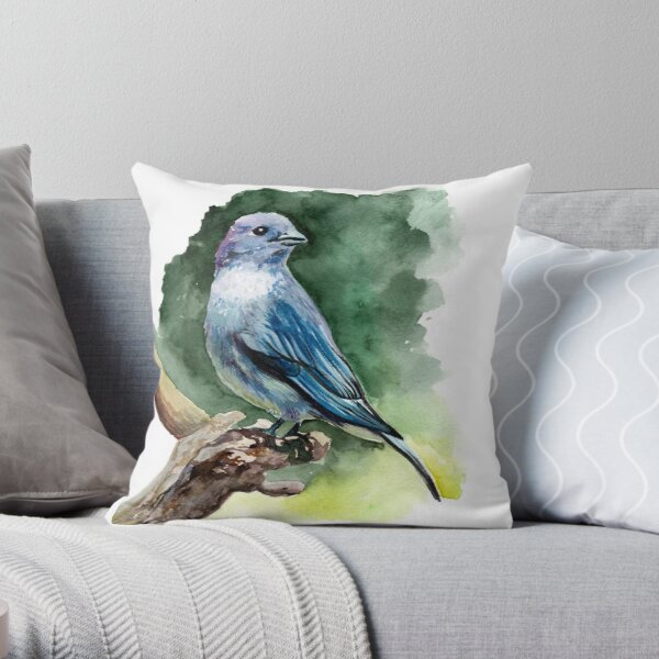 Blue Tanager Throw Pillow