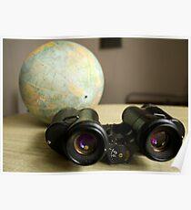 Binoculars and Globe Poster