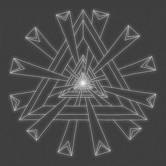 Sacred Geometry - White on Dk Grey Print by TheMandalaLady