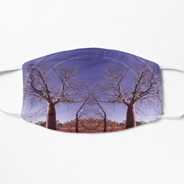 Boab tree and star trails Flat Mask
