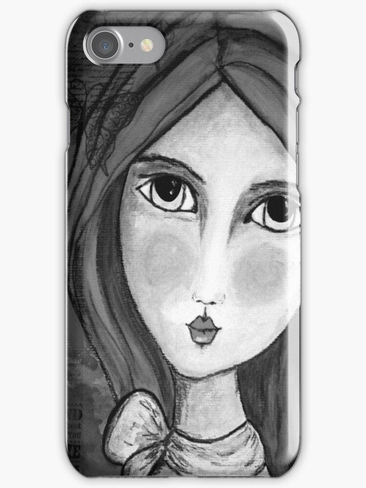 iphone Cover Penelope Lili Bow Black & White by Jodster66