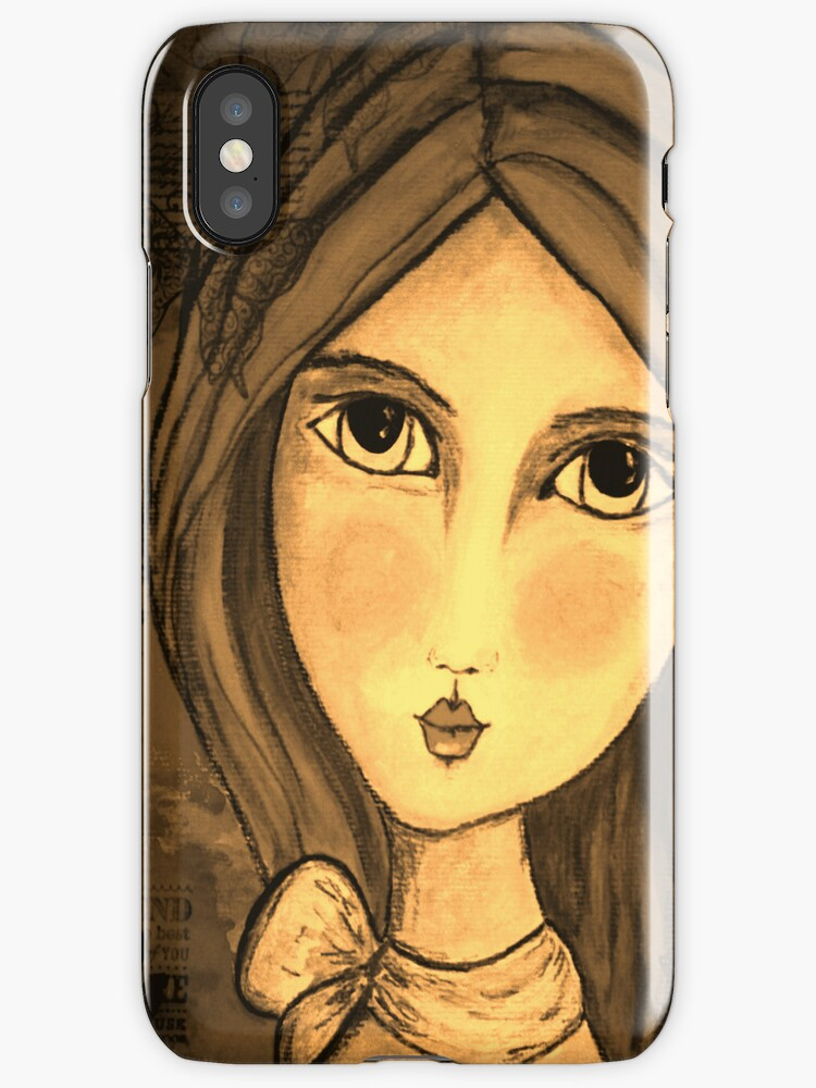 iphone case Penelope Lili Bow Sepia by Jodster66