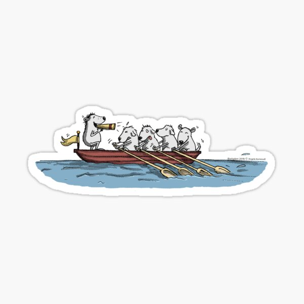 Rowboat with dogs Sticker