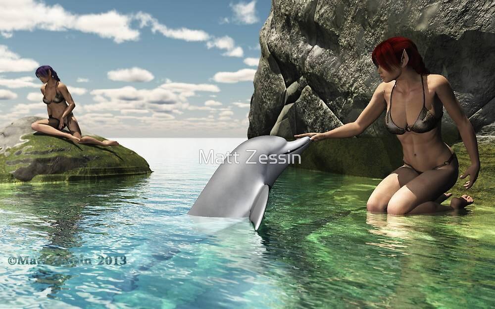 Elf girls and Dolphin by Matt Zessin