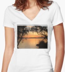Myall Sunset Tee Women's Fitted V-Neck T-Shirt