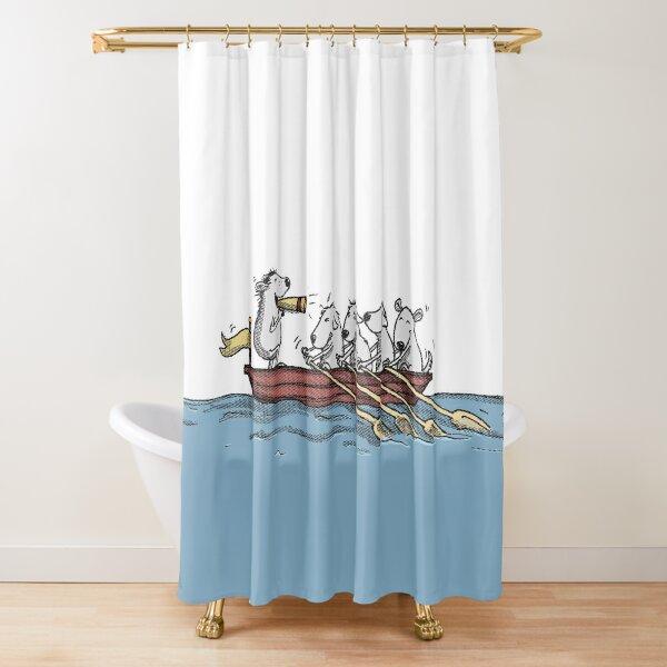 Ruderboot mit Hunden Duschvorhang