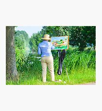 Paintress of Flemish summer landscape at work in the field Photographic Print