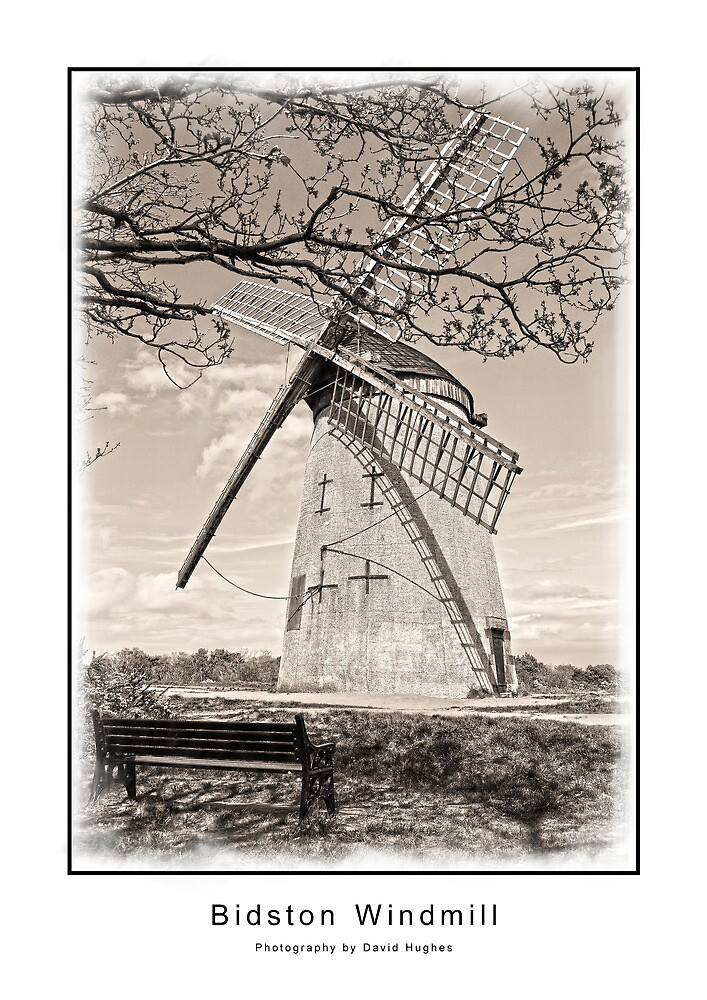 Bidston Windmill in Sepia by DavidWHughes