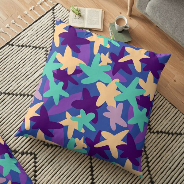 Flower Petal Pattern Party, Abstract Summer Shapes Floor Pillow