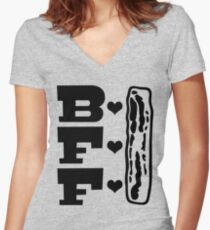 Best Friends Forever - Bacon is my BFF  Women's Fitted V-Neck T-Shirt