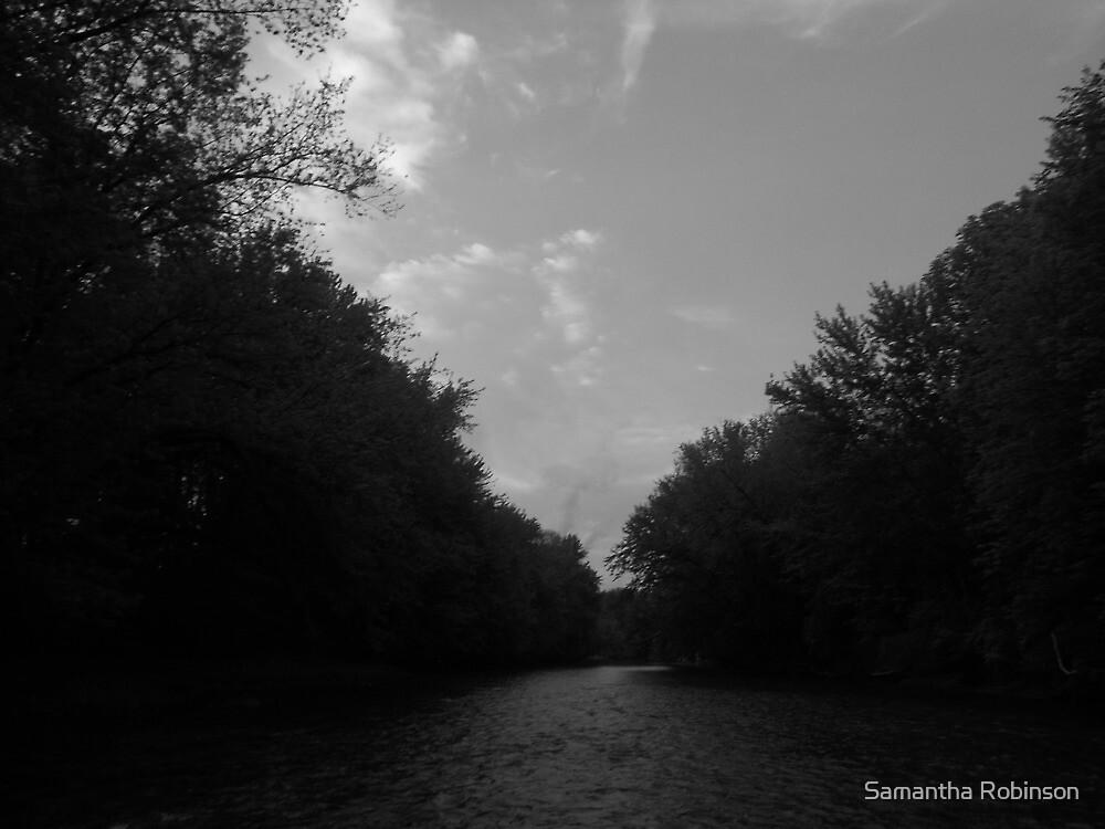 The Swift River- b&w by Samantha Robinson