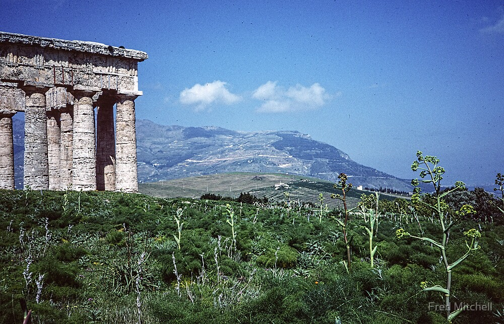 Segesta Greek Temple and mountain 19840325 0042m by Fred Mitchell