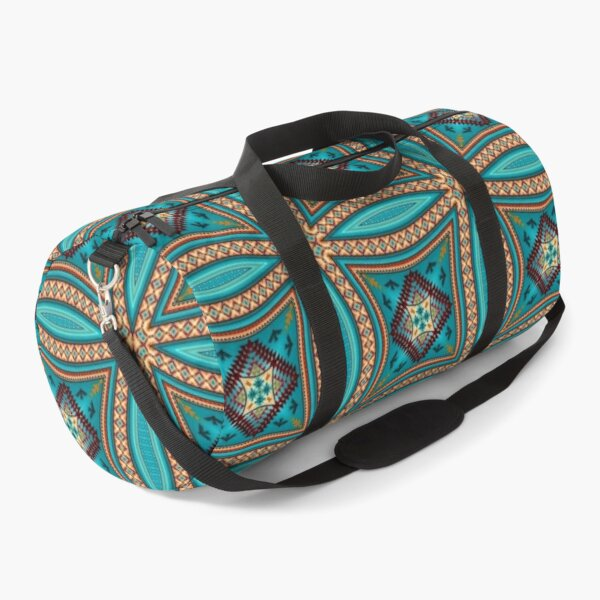 Turquoise Pattern Native American Style Version 2 Duffle Bag