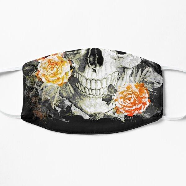 Skull human anatomy floral, skeleton watercolor orange pink roses,mask cool, funny,cute, Flat Mask