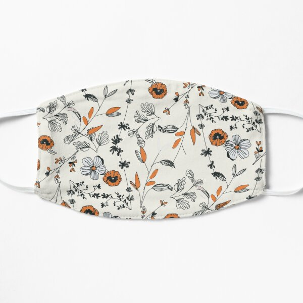 Orange Flower Pattern Mask
