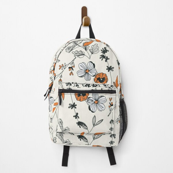 Orange Flower Pattern Backpack