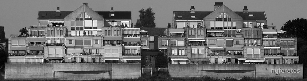 Twinbuildings at the border by nyferates
