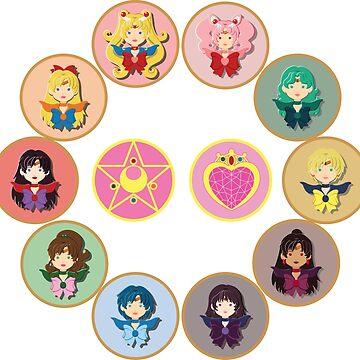 Sailor Senshi Circle by CptnLaserBeam