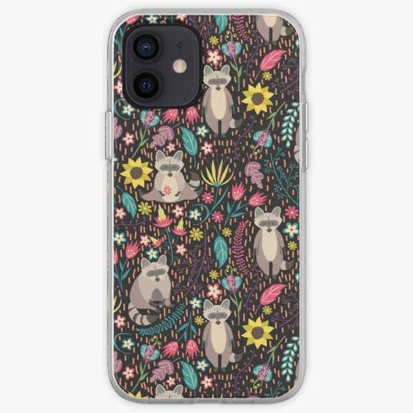 Raccoons bright pattern iPhone Soft Case